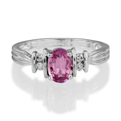 pink sapphire ring 1.1ct. set with diamond in five stone ring smallest Image