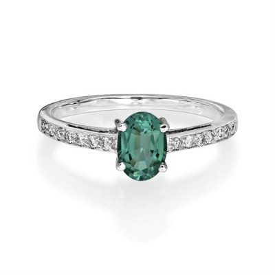 tourmaline ring 0.74ct. set with diamond in shoulder set ring smallest Image