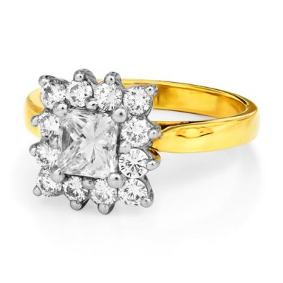 0.61ct. diamond ring set with diamond in cluster ring smallest Image