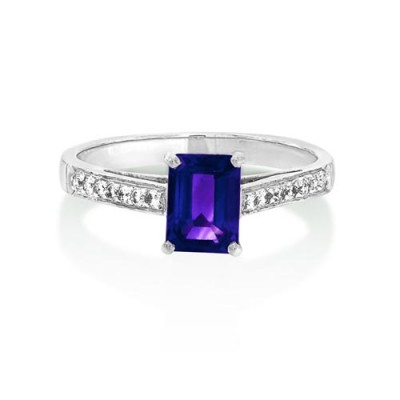 amethyst ring 1ct. set with diamond in shoulder set ring smallest Image