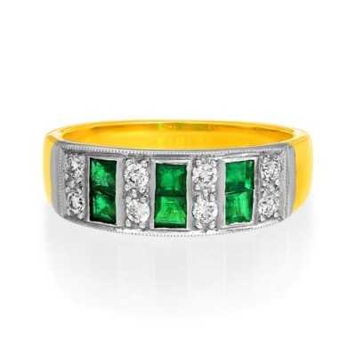 emerald ring 0.45ct. set with diamond in wide band ring smallest Image