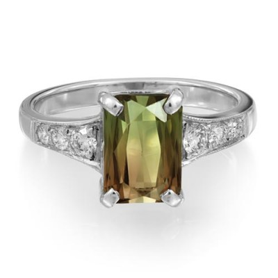 tourmaline ring 2.93ct. set with diamond in shoulder set ring smallest Image