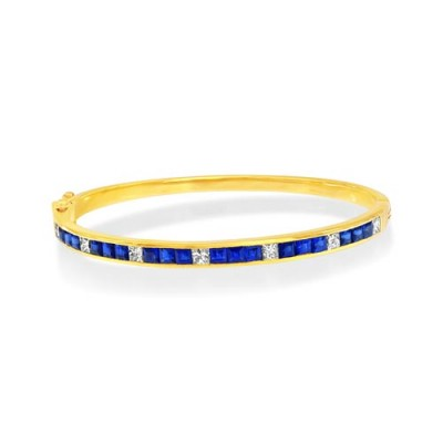 sapphire bangle 2.28ct. set with diamond in line bangle smallest Image