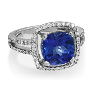 tanzanite ring 3.58ct. set with diamond in cluster ring smallest Image