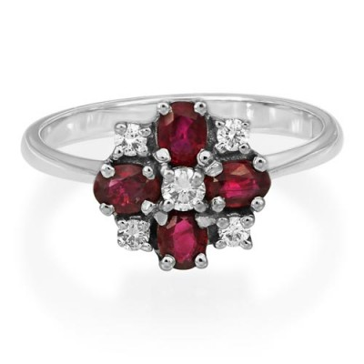 ruby ring 0.93ct. set with diamond in cluster ring smallest Image