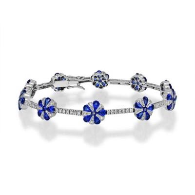 sapphire bracelet 6.72ct. set with diamond in tennis bracelet smallest Image