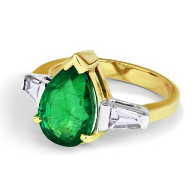 emerald ring 3.75ct. set with diamond in three stone ring smallest Image
