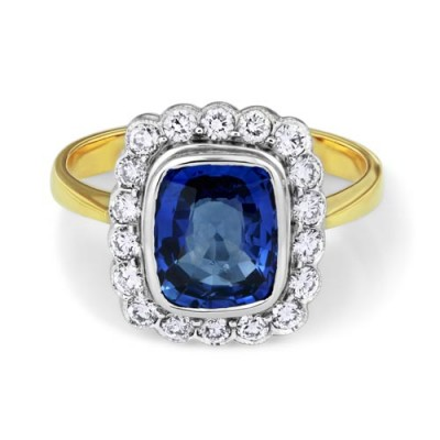 tanzanite ring 2.62ct. set with diamond in cluster ring smallest Image