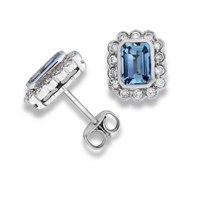 aquamarine earrings 1.83ct. set with diamond in cluster earrings smallest Image