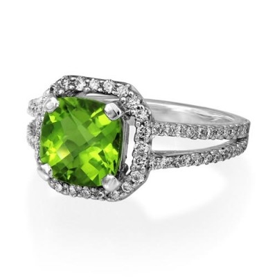 peridot ring 2.26ct. set with diamond in halo ring smallest Image