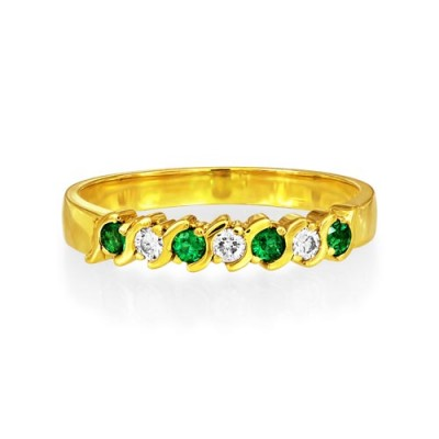 emerald ring 0.12ct. set with diamond in eternity ring smallest Image