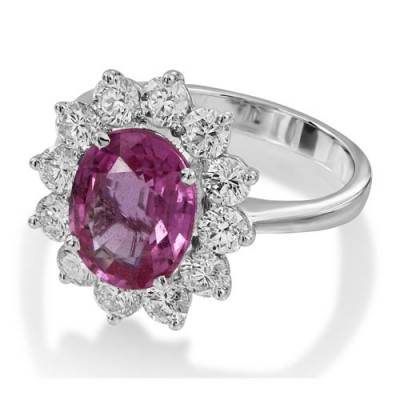 pink sapphire ring 4.02ct. set with diamond in cluster ring smallest Image