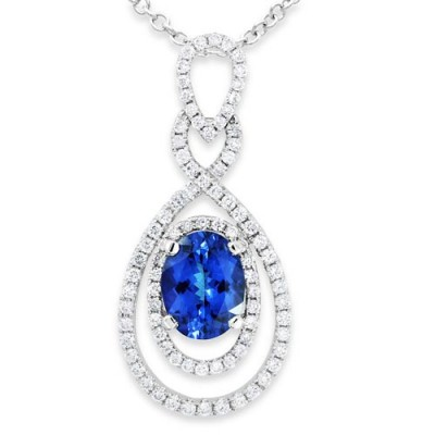 tanzanite pendant 2.01ct. set with diamond in cluster pendant smallest Image