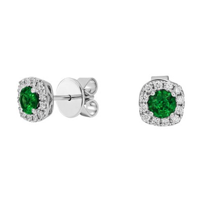 emerald earrings 0.11ct. set with diamond in cluster earrings smallest Image