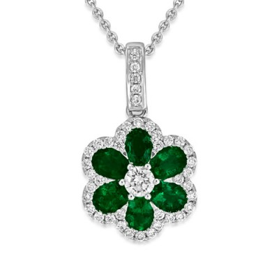 emerald pendant 1.02ct. set with diamond in cluster pendant smallest Image