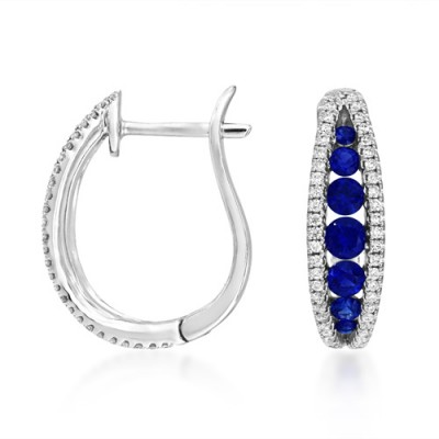 sapphire earrings 0.73ct. set with diamond in hoop earrings smallest Image