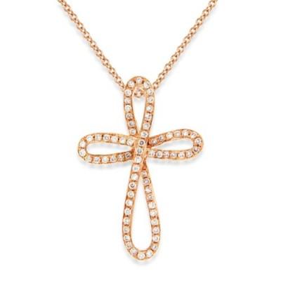 0.2ct. diamond pendant set with diamond in cross pendant smallest Image