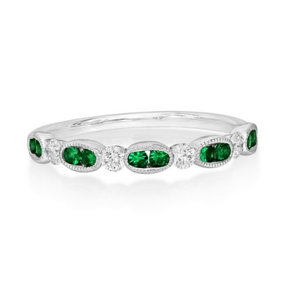 emerald ring 0.16ct. set with diamond in eternity ring smallest Image