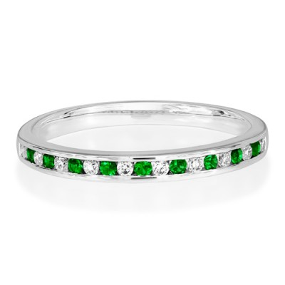 emerald ring 0.08ct. set with diamond in eternity ring smallest Image