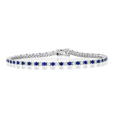 sapphire bracelet 1.53ct. set with diamond in line bracelet smallest Image