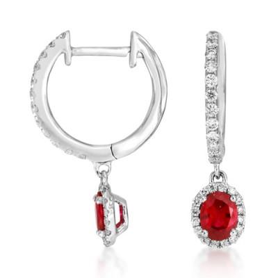 ruby earrings 0.55ct. set with diamond in drop earrings smallest Image