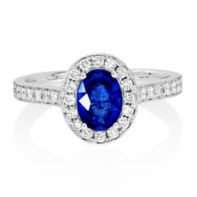 sapphire ring 0.95ct. set with diamond in cluster ring smallest Image