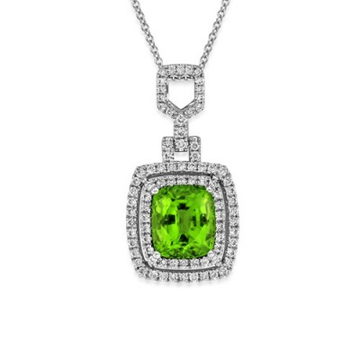 peridot pendant 3.09ct. set with diamond in cluster pendant smallest Image