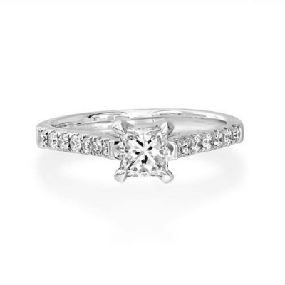 0.8ct. diamond ring set with diamond in shoulder set ring smallest Image