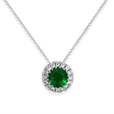 emerald necklace 0.13ct. set with diamond in cluster necklace smallest Image