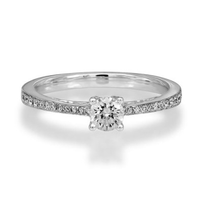 0.46ct. certified diamond ring set with diamond in shoulder set ring smallest Image