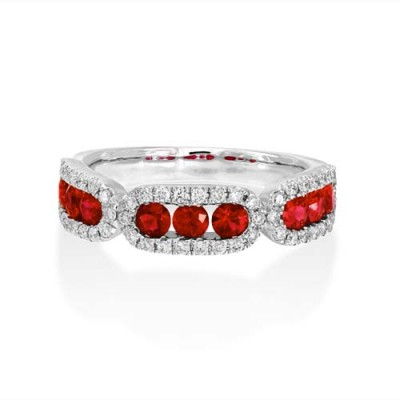 ruby ring 0.86ct. set with diamond in wide band ring smallest Image
