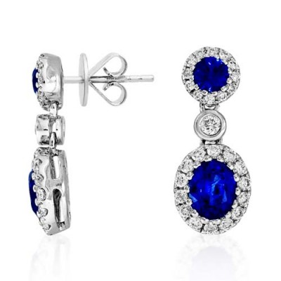 sapphire earrings 1.175ct. set with diamond in cluster earrings smallest Image