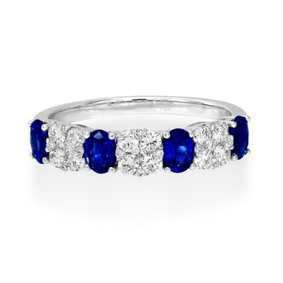 sapphire ring 0.87ct. set with diamond in eternity ring smallest Image