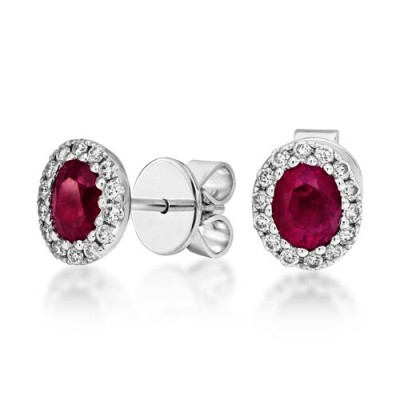 ruby earrings 0.75ct. set with diamond in cluster earrings smallest Image