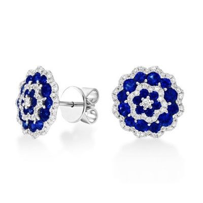 sapphire earrings 1.87ct. set with diamond in cluster earrings smallest Image