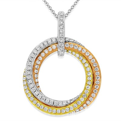 0.74ct. diamond pendant set with diamond in circle pendant smallest Image