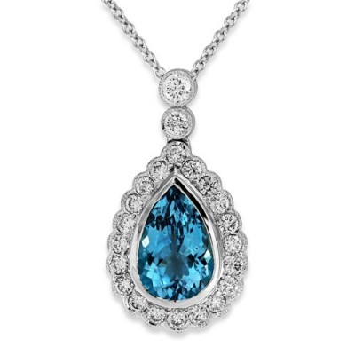 aquamarine pendant 2.53ct. set with diamond in cluster pendant smallest Image