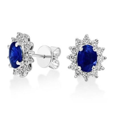 sapphire earrings 2.12ct. set with diamond in cluster earrings smallest Image