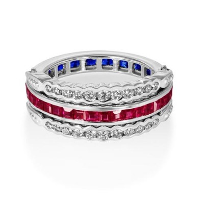 ruby sapphire ring 1.94ct. set with diamond in eternity ring smallest Image