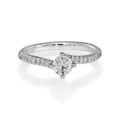 0.67ct. certified diamond ring set with diamond in shoulder set ring smallest Image