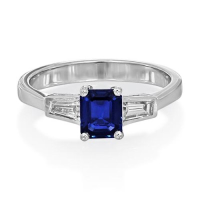 sapphire ring 0.89ct. set with diamond in three stone ring smallest Image