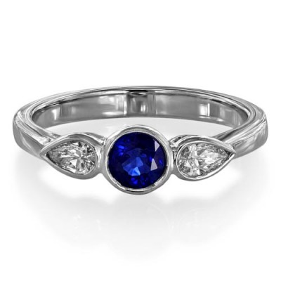 sapphire ring 0.5ct. set with diamond in three stone ring smallest Image