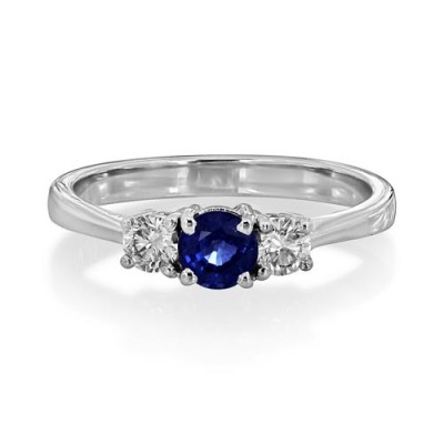 sapphire ring 0.54ct. set with diamond in three stone ring smallest Image
