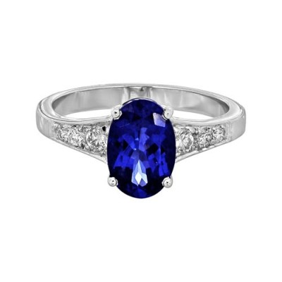 tanzanite ring 2ct. set with diamond in shoulder set ring smallest Image