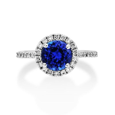 tanzanite ring 1.93ct. set with diamond in cluster ring smallest Image