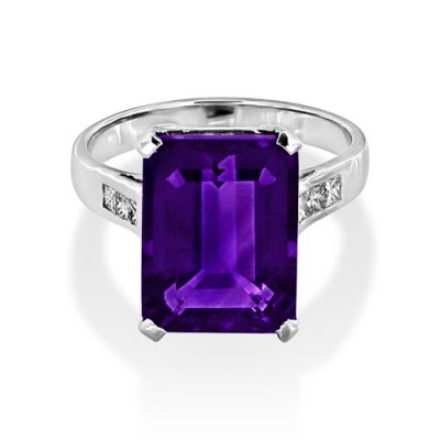 amethyst ring 6.88ct. set with diamond in shoulder set ring smallest Image