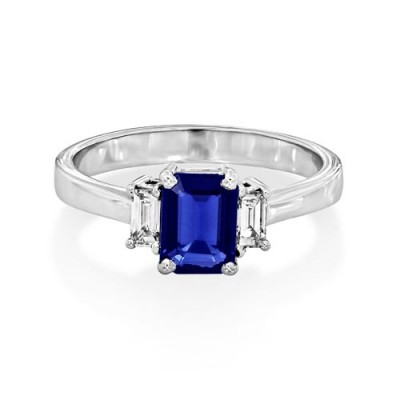 sapphire ring 0.93ct. set with diamond in three stone ring smallest Image