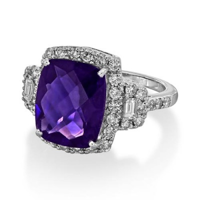 amethyst ring 5.11ct. set with diamond in vintage ring smallest Image