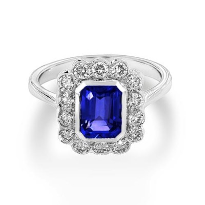 tanzanite ring 1.73ct. set with diamond in cluster ring smallest Image