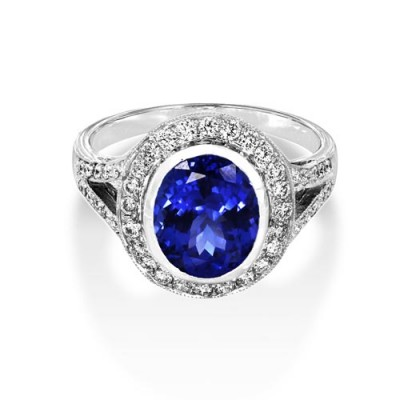 tanzanite ring 2.93ct. set with diamond in vintage ring smallest Image